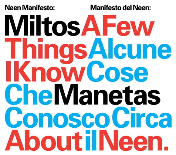 """A Few Things I Know About NEEN / Miltos Manetas"" designed by Experimental Jetset"